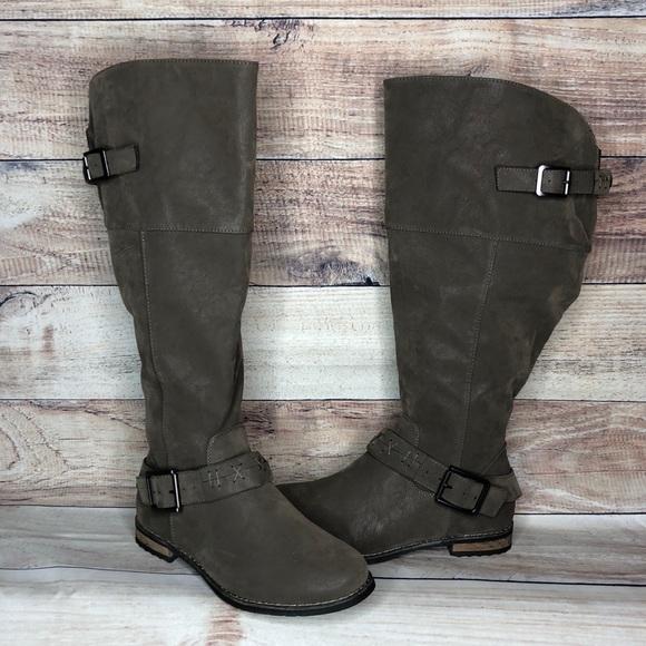 79fee2bf8f7 Torrid Wide Calf Grey Stitch Buckle Knee Boot